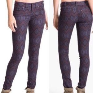 """Free People Patterned Skinny Jeans 25 (inseam 31"""")"""